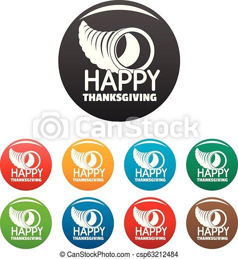 Happy thanksgiving corn icons set color - csp63212484