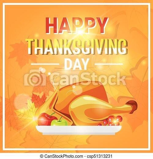 Happy thanksgiving day autumn traditional holiday greeting card with happy thanksgiving day autumn traditional holiday greeting card with roasted turkey csp51313231 m4hsunfo