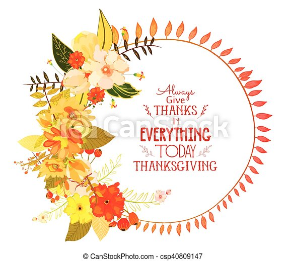 Happy thanksgiving day greeting card wreath and hand drawn letters happy thanksgiving day greeting csp40809147 m4hsunfo