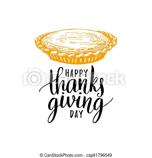 happy thanksgiving day hand lettering on white background vector