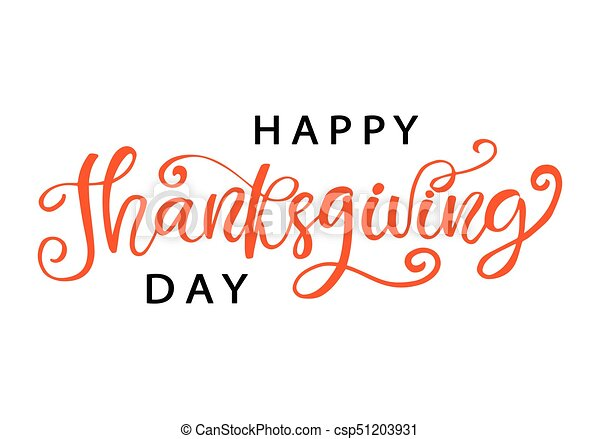 Happy Thanksgiving Day Hand Written Lettering