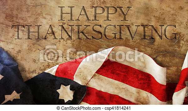 Happy Thanksgiving Day Usa Flag On Wood Canstock