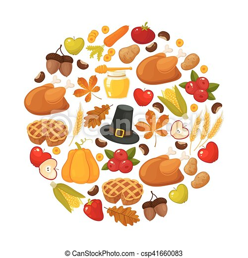 Happy Thanksgiving Day Vector Banner With Traditional Table Plenty Of Food Roasted Turkey Cornucopia With Pumpkins Fruits And Vegetables