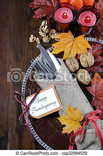 Happy Thanksgiving Dining Table Place Setting In Traditional Rustic Country Style With Hessian Wrapped Cutlery On Wood Background