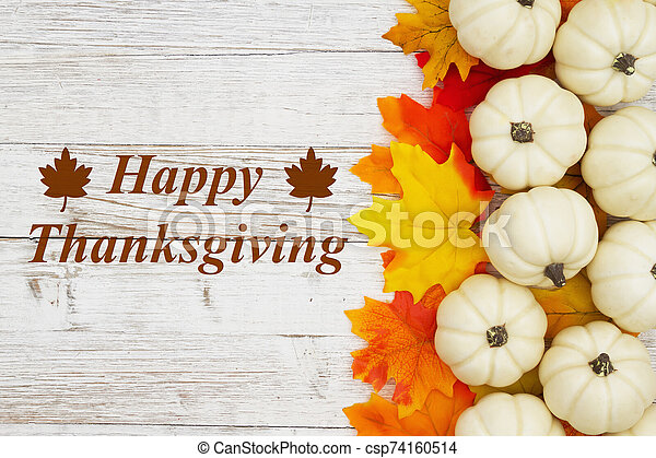 Happy Thanksgiving greeting white pumpkins with fall leaves - csp74160514