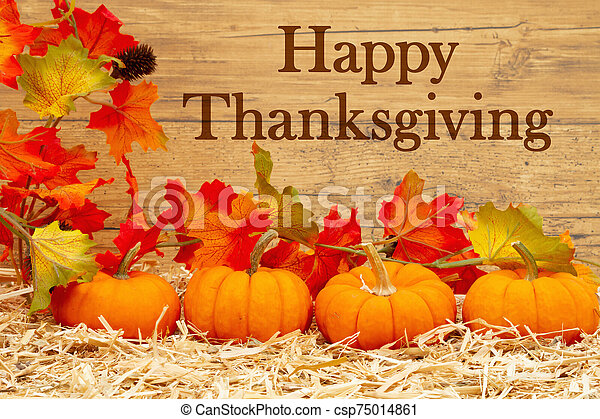 Happy Thanksgiving greeting with orange pumpkins and fall leaves on straw hay - csp75014861