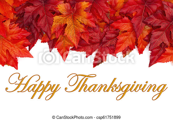 Happy Thanksgiving greeting with red and orange fall leaves - csp61751899