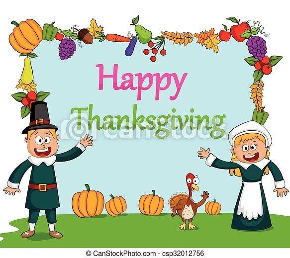 happy thanksgiving holiday greeting card in vector clipart vector rh canstockphoto com birthday greeting clipart birthday greeting clipart