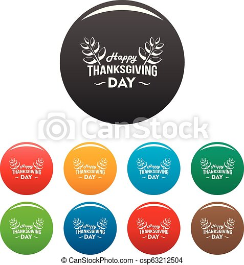 Happy thanksgiving leaf icons set color - csp63212504
