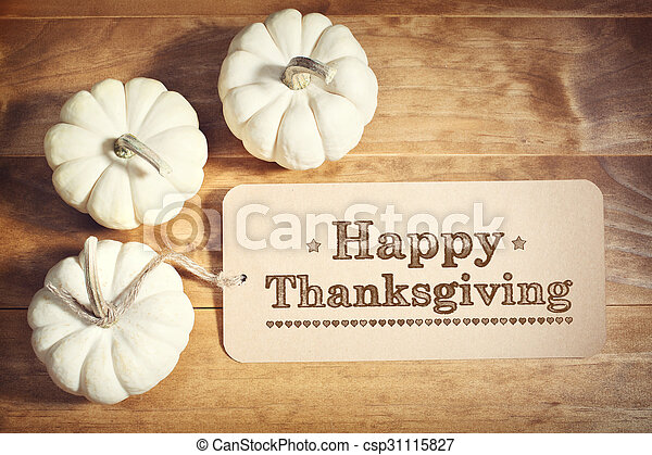 Happy Thanksgiving message with small white pumpkins - csp31115827