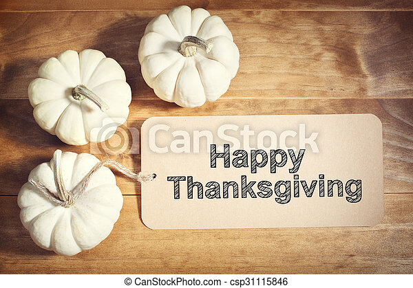 Happy Thanksgiving message with small white pumpkins - csp31115846