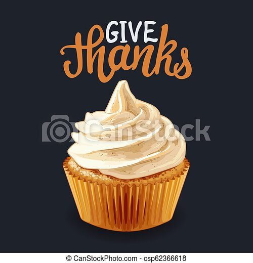 Happy Thanksgiving pumpkin cupcakes with calligraphy quotes Vector