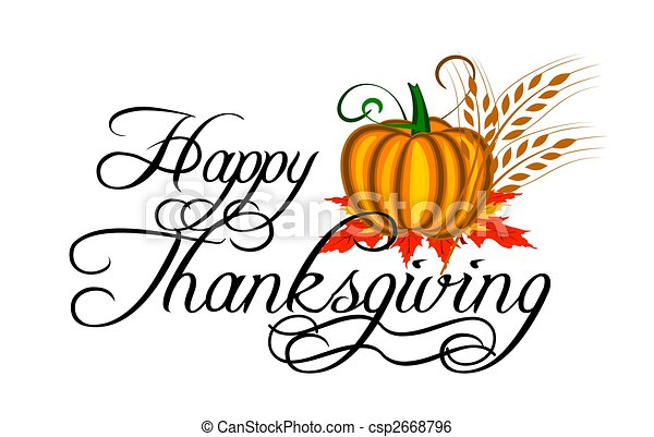happy thanksgiving text and pumpkin with design elements stock rh canstockphoto com free clip art for thanksgiving holidays free clipart for thanksgiving day