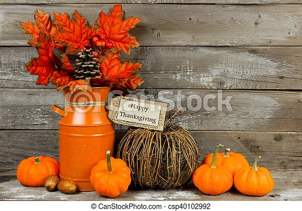 Happy Thanksgiving Tag And Decor With Rustic Wood Background