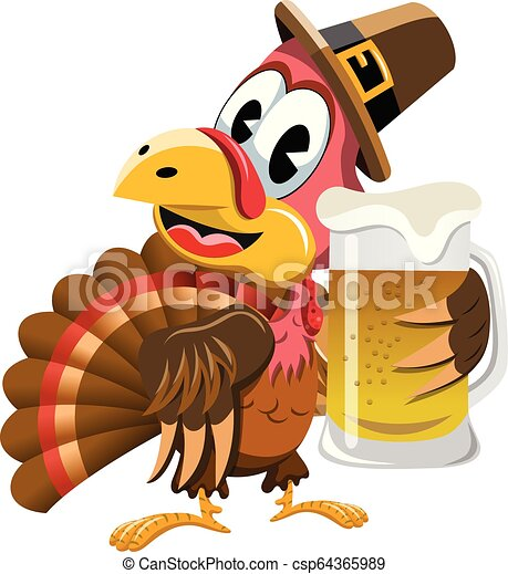 Happy Thanksgiving Turkey Holding Beer Mug Isolated