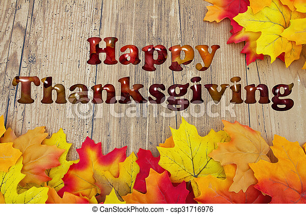 Happy Thanksgiving with fall leaves - csp31716976