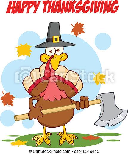 Happy Thanksgiving With Turkey  - csp16519445