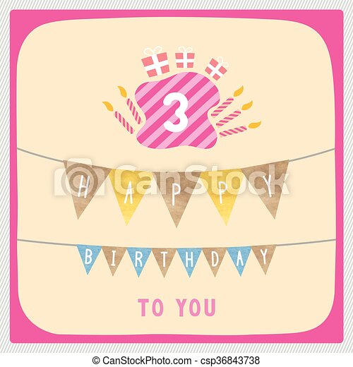 Happy Third Birthday Card