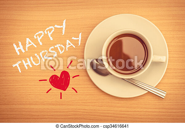 Happy Thursday With Coffee Cup On Table