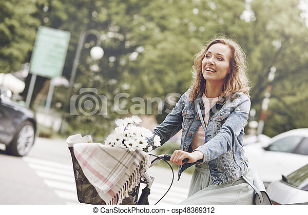 Happy time during the cycling - csp48369312