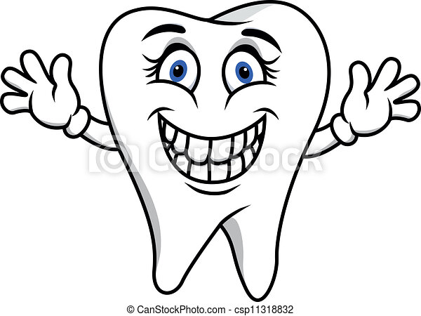 Happy tooth cartoon csp11318832