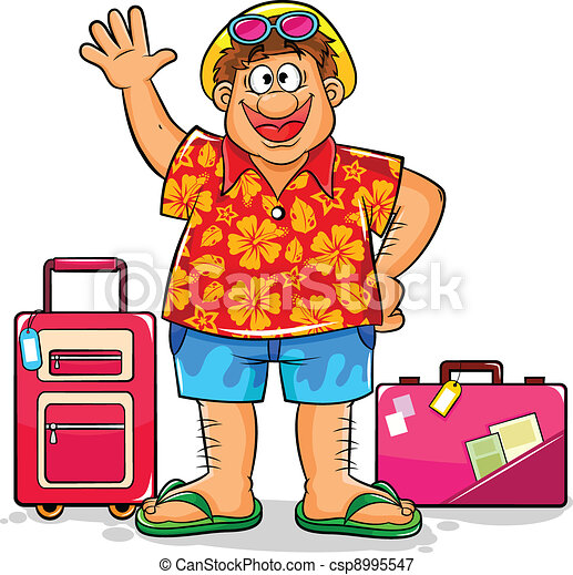 happy tourist tourist in summer clothes ready to visit tropical rh canstockphoto com clipart tourist guide tourist clipart free