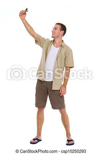 Happy tourist making photos of himself - csp10250293