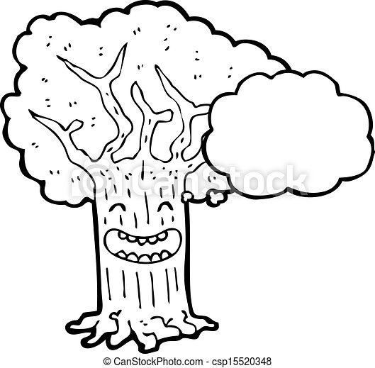 Happy Tree With Thought Bubble Cartoon