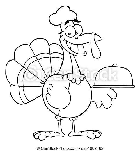 Happy Turkey Chef Serving A Platter - csp4982462