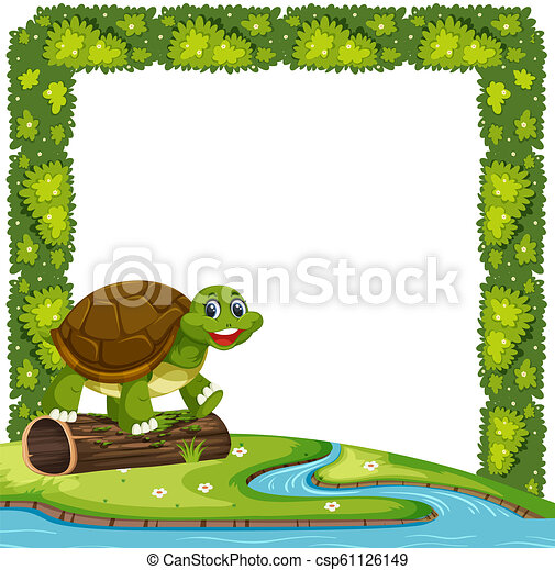 happy turtle in nature frame illustration https www canstockphoto com happy turtle in nature frame 61126149 html