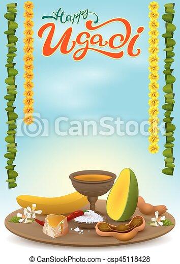 Happy ugadi greeting card with festive dish hot red pepper salt happy ugadi greeting card with festive dish csp45118428 m4hsunfo