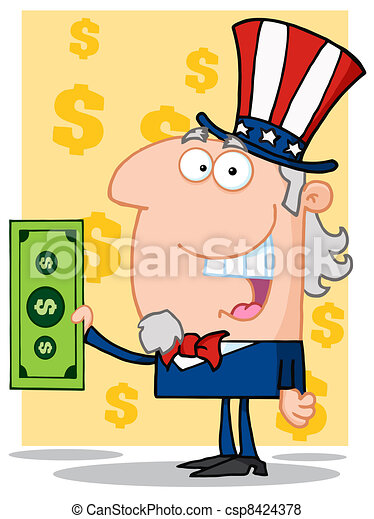 Happy Uncle Sam  Holding A Dollar  - csp8424378