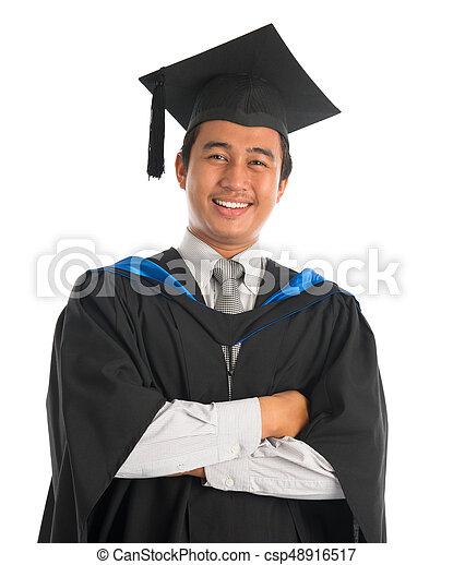 8e63076da9e Happy university student graduation. Waist up happy asian male ...