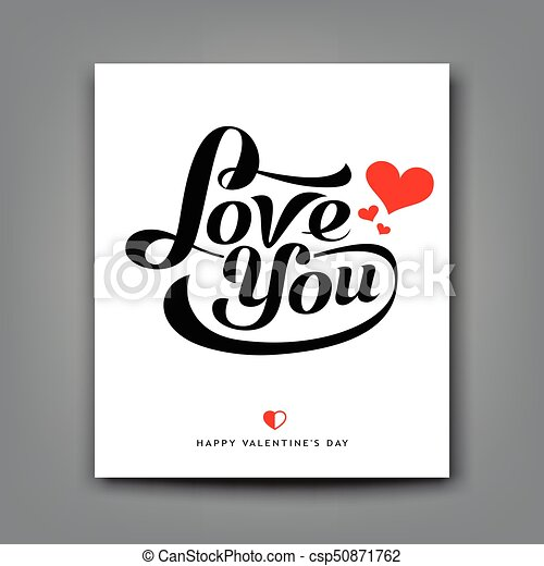 Happy Valentine day message love you on white paper - csp50871762