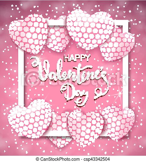 Happy valentine s day greeting card with heart shaped air balloons happy valentine s day greeting card with heart shaped air balloons and frame vector illustration m4hsunfo