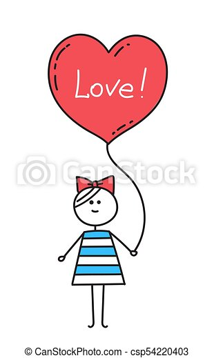 happy valentines card girl holding red heart shaped balloon with
