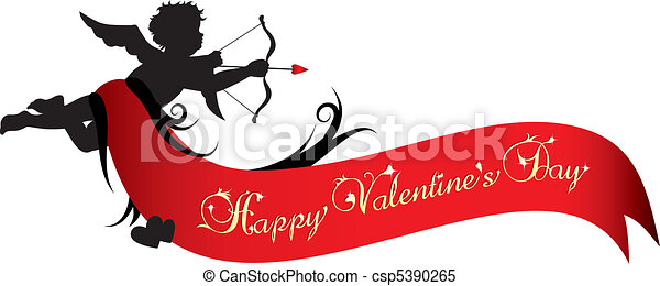 Happy Valentines Day Banner Cupid Silhouette With Red Ribbon