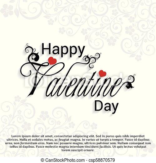 Happy Valentine's day card set with pattern white background - csp58870579