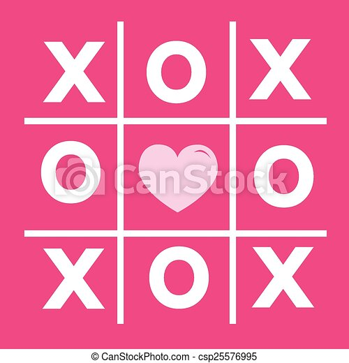 Happy Valentines Day Card Tic Tac Toe Game Cross Heart Sign Xoxo