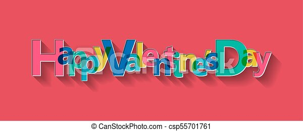 Happy Valentine's Day card, vector illustration. - csp55701761