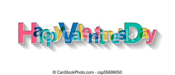 Happy Valentine's Day card, vector illustration. - csp55699050