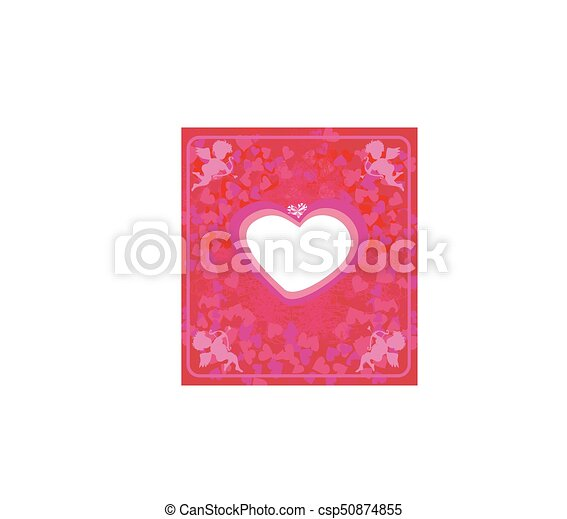 Happy valentines day - card with cupids - csp50874855