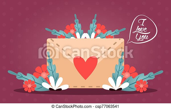 happy valentines day card with envelope and heart - csp77063541
