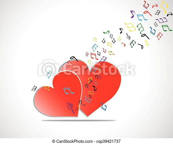 Happy Valentines Day Card With Heart Music Notes Vector Illustration
