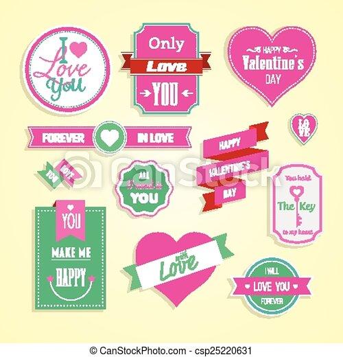 Happy valentines day cards element - csp25220631
