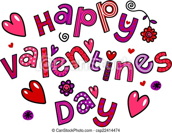 Happy Valentines Day Cartoon Doodle Simple Hand Drawn Doodle Text