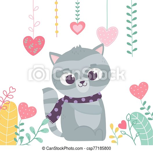 happy valentines day, cute raccoon with scarf hearts love foliage decoration - csp77185800