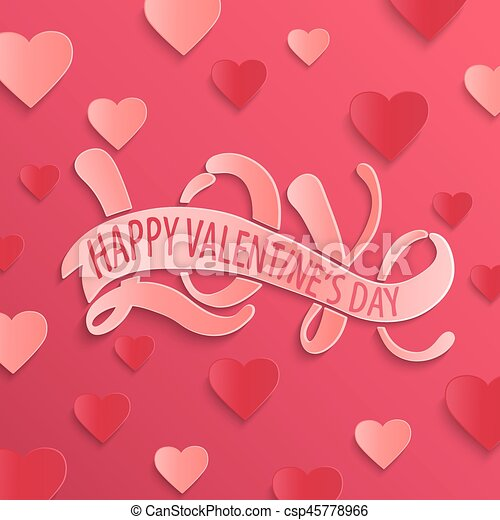 Happy Valentines Day Design Card Love Hand Drawing
