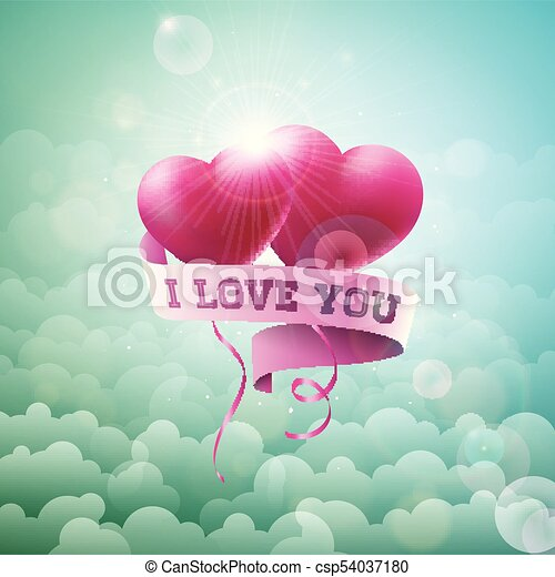 Happy valentines day design with red balloon heart and typography happy valentines day design with red balloon heart and typography letter on cloud sky background stopboris Images
