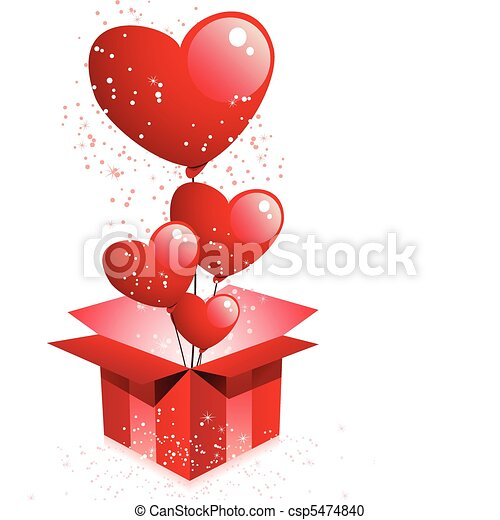 vector - happy valentine's day gift with hearts balloons vector, Ideas